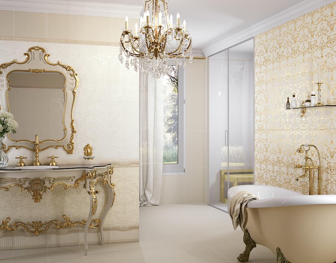 Классическая керамическая плитка для ванной дизайн